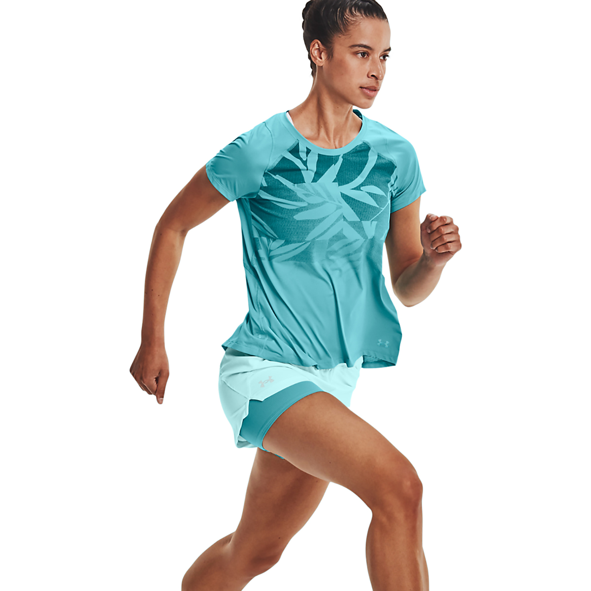 Women's Under Armour Isochill Run 2 in 1 Short - Color: Breeze Cosmos - Size: XS, Breeze Cosmos, large, image 4