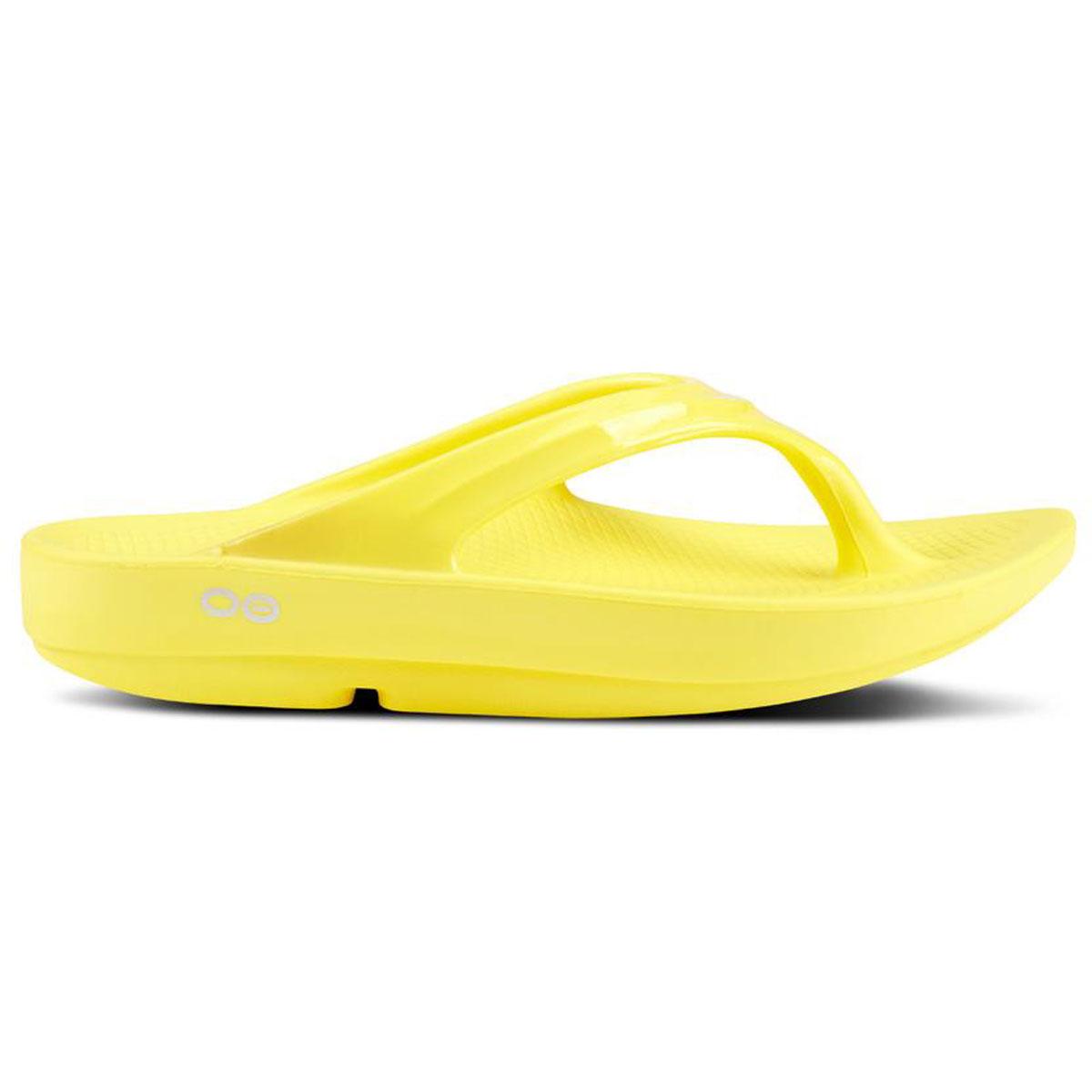 Women's Oofos OOlala Thong Recovery Sandal - Color: Lemon - Size: 5 - Width: Regular, Lemon, large, image 1
