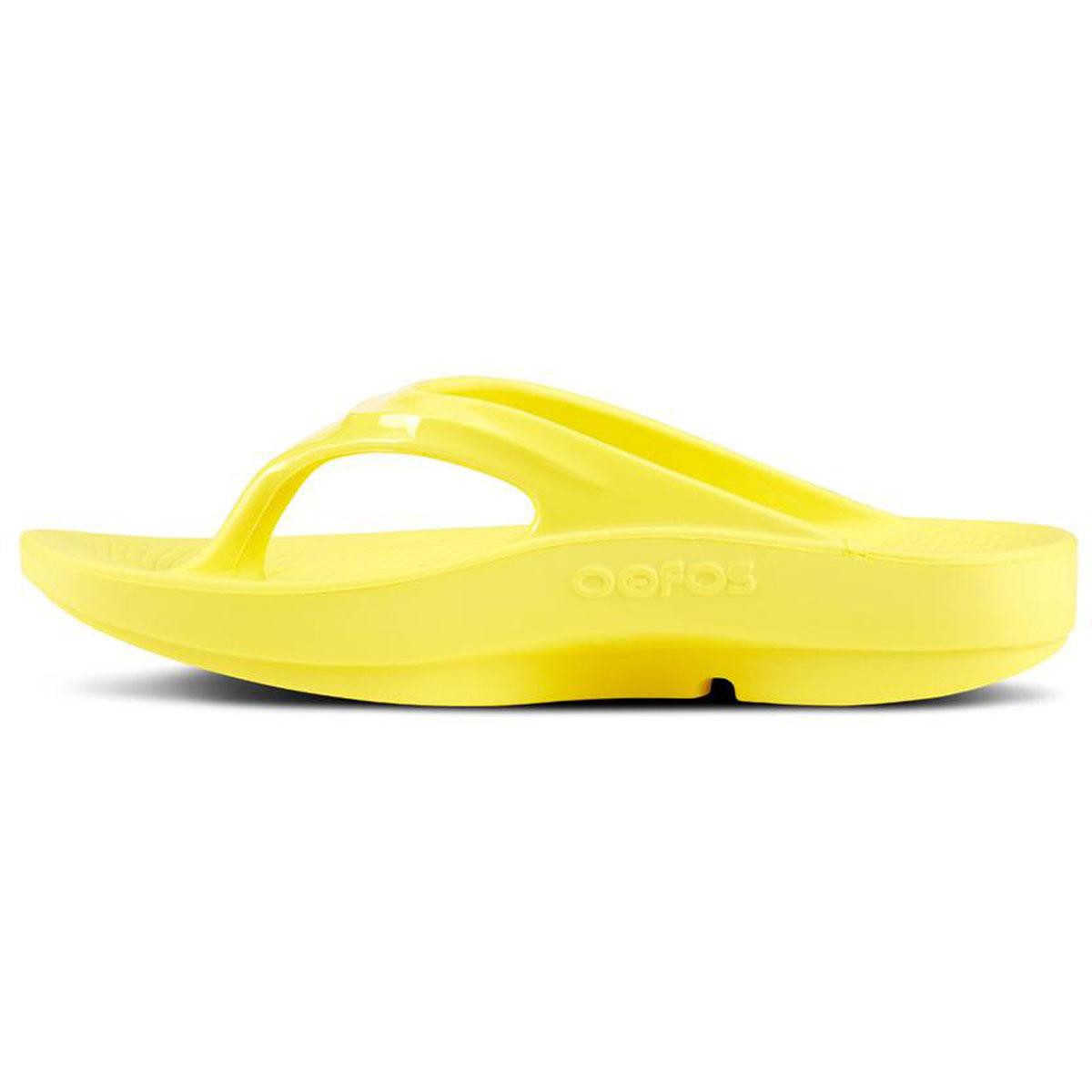 Women's Oofos OOlala Thong Recovery Sandal - Color: Lemon - Size: 5 - Width: Regular, Lemon, large, image 2