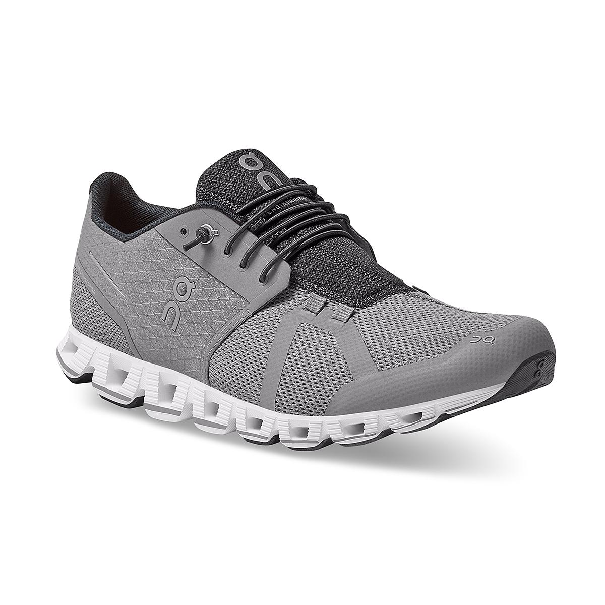 Men's On Cloud Running Shoe - Color: Zinc/White - Size: 7 - Width: Regular, Zinc/White, large, image 2