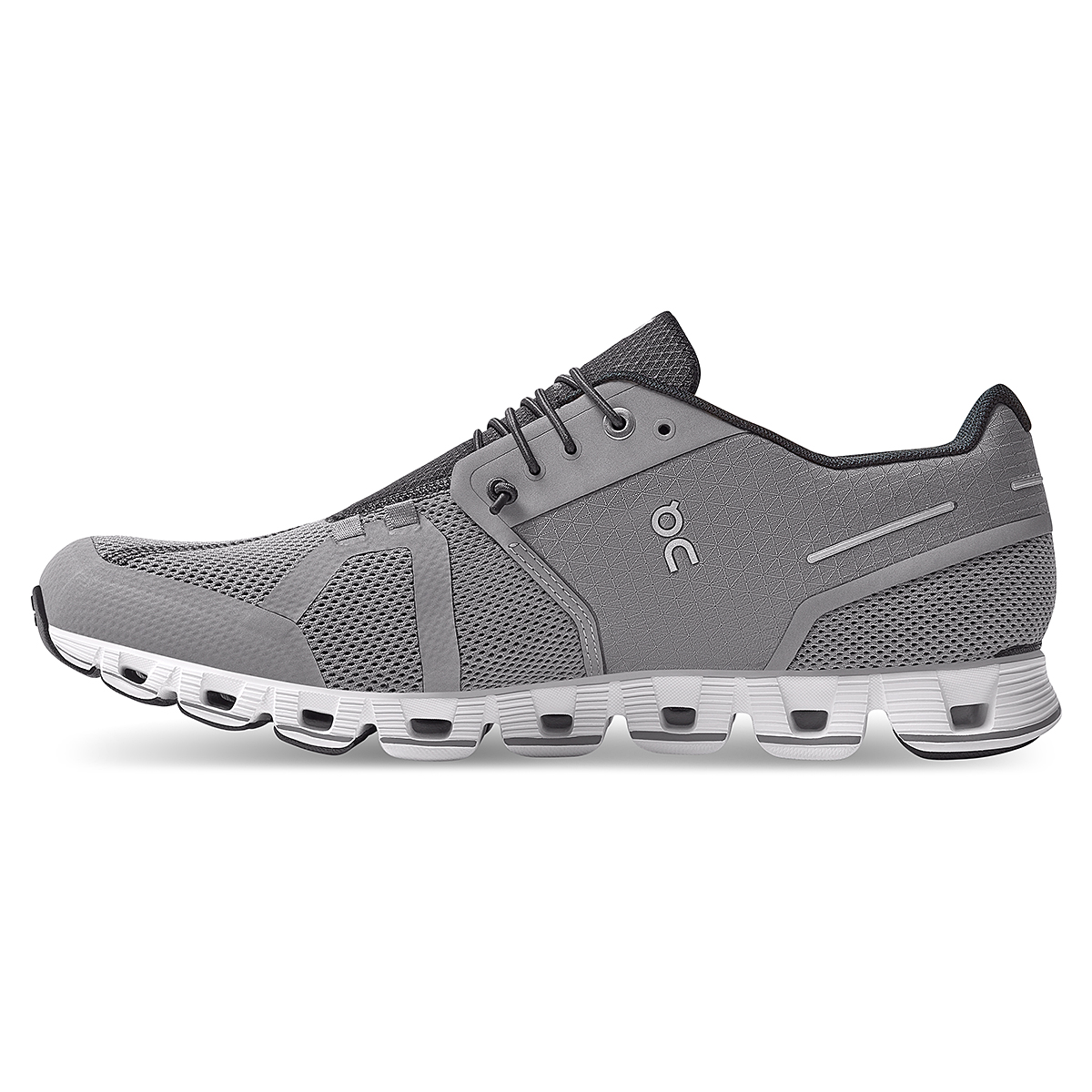 Men's On Cloud Running Shoe - Color: Zinc/White - Size: 7 - Width: Regular, Zinc/White, large, image 3