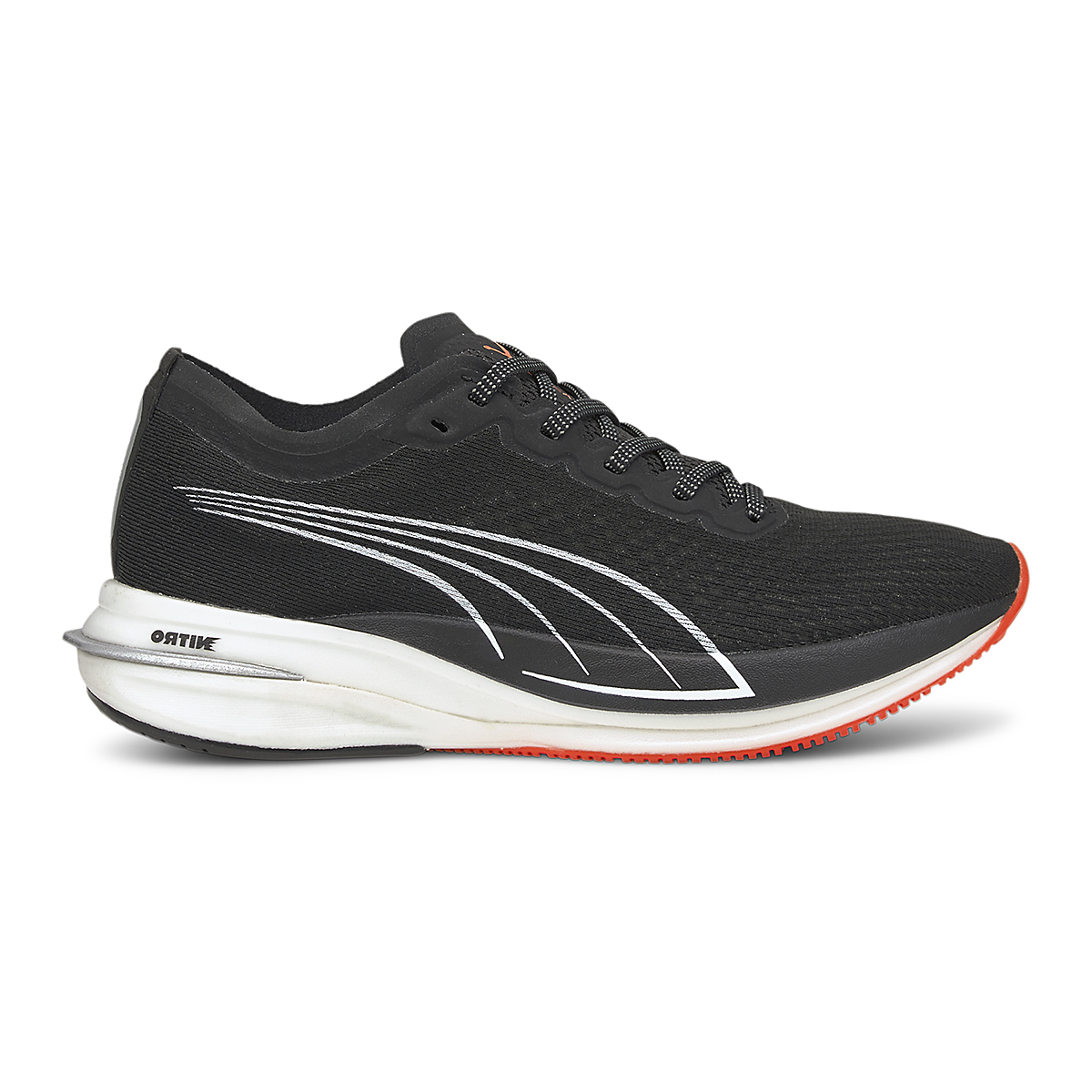 Women's Puma Deviate Nitro Running Shoe - Color: Puma Black-Lava Blast - Size: 5.5 - Width: Regular, Puma Black-Lava Blast, large, image 1