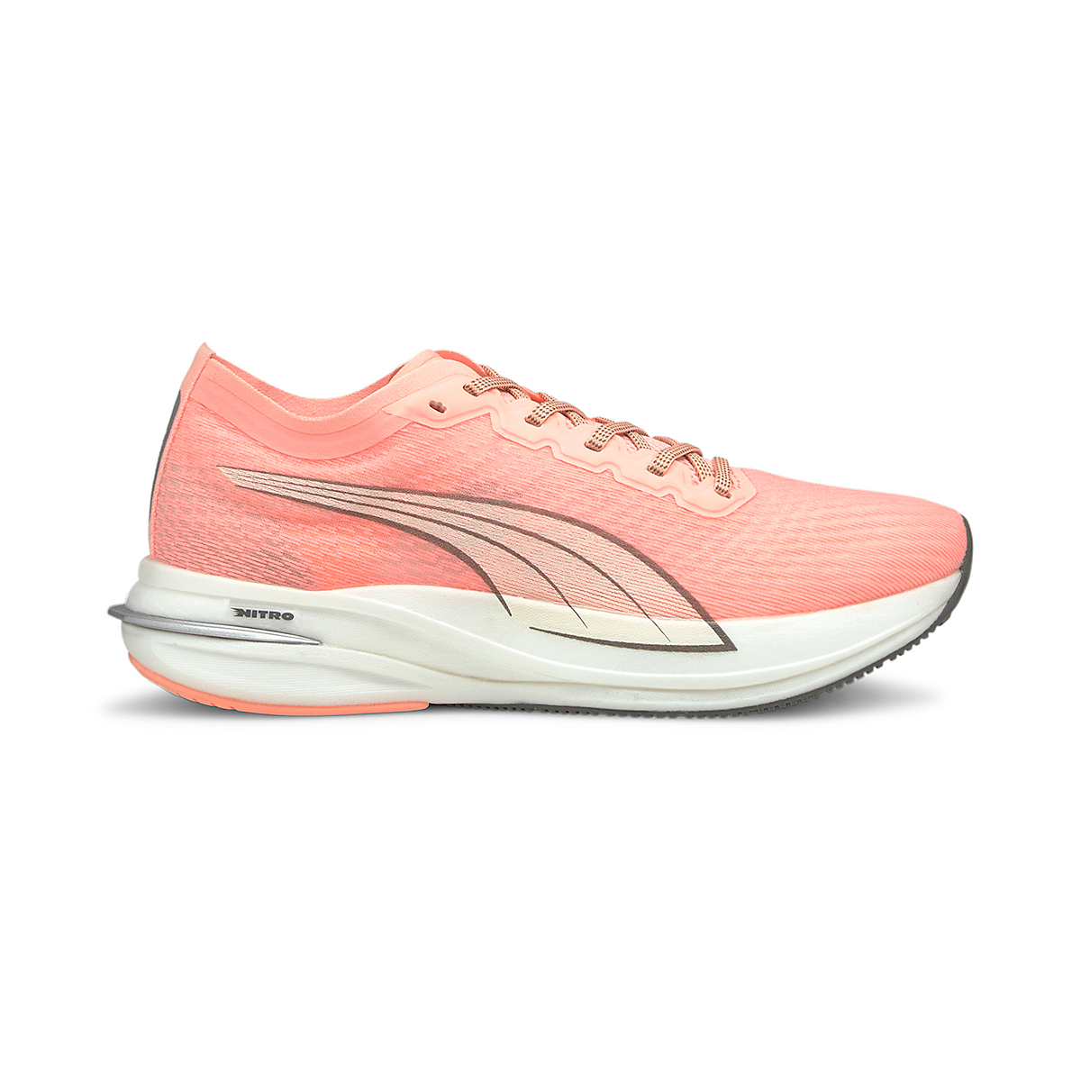 Women's Puma Deviate Nitro Running Shoe - Color: Elektro Peach - Size: 5.5 - Width: Regular, Elektro Peach, large, image 1