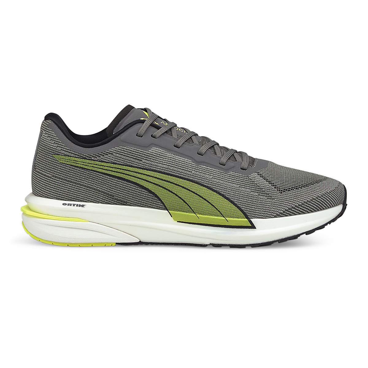 Men's Puma Velocity Nitro Running Shoe - Color: Castlerock-Yellow Alert-Puma Black - Size: 7 - Width: Regular, Castlerock-Yellow Alert-Puma Black, large, image 1