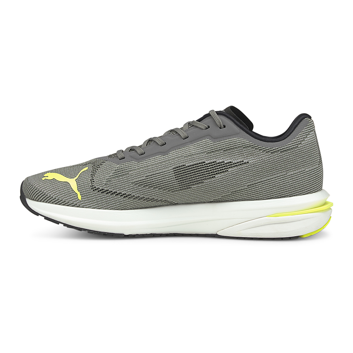 Men's Puma Velocity Nitro Running Shoe - Color: Castlerock-Yellow Alert-Puma Black - Size: 7 - Width: Regular, Castlerock-Yellow Alert-Puma Black, large, image 2