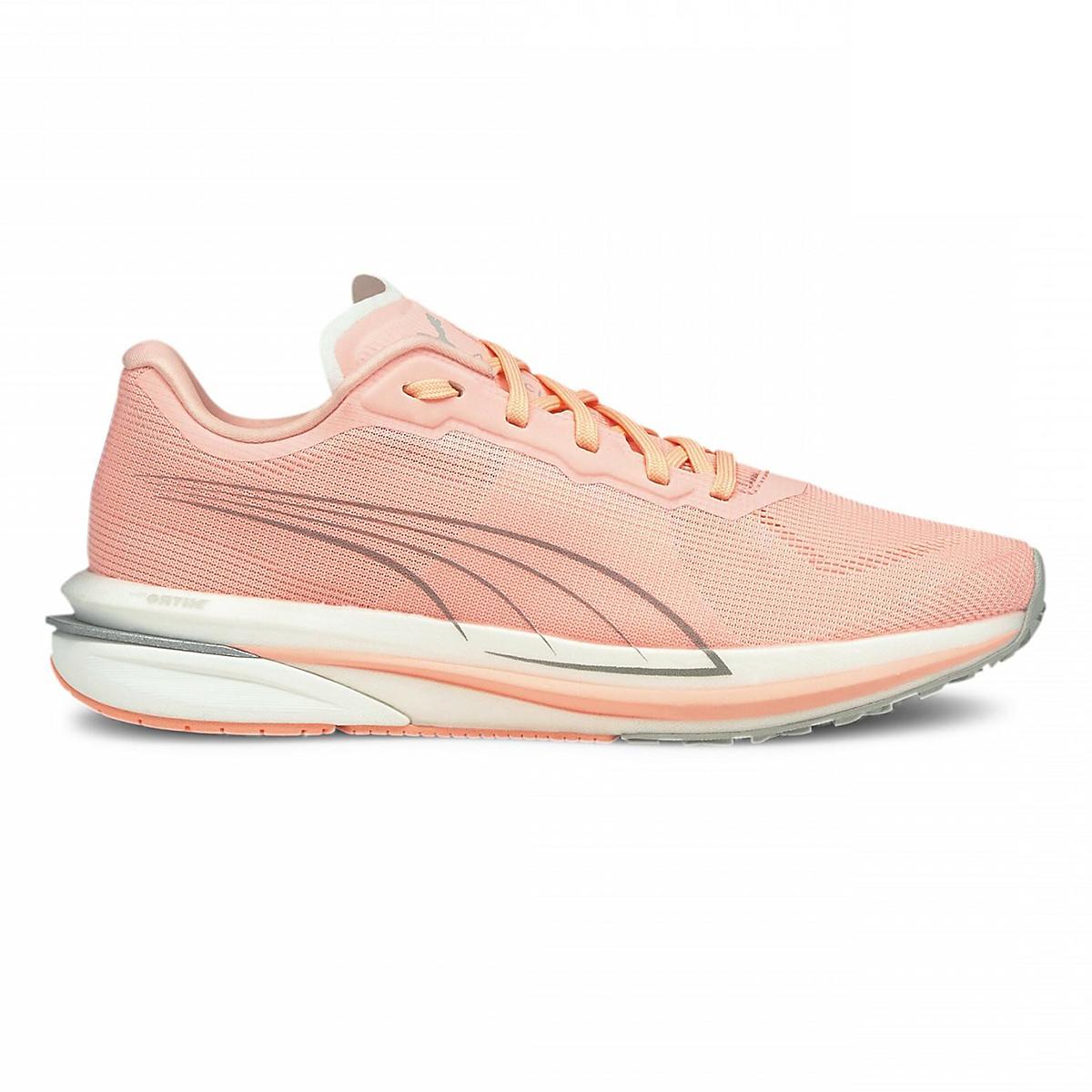 Women's Puma Velocity Nitro Running Shoe - Color: Elektro Peach-Puma Silver - Size: 5.5 - Width: Regular, Elektro Peach-Puma Silver, large, image 1