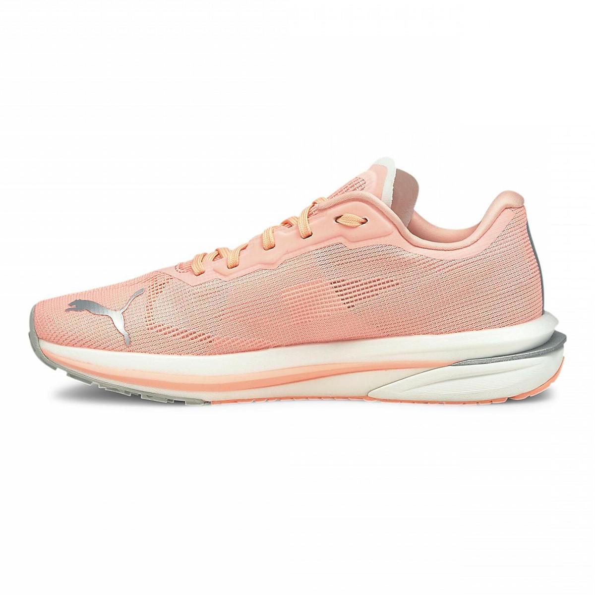 Women's Puma Velocity Nitro Running Shoe - Color: Elektro Peach-Puma Silver - Size: 5.5 - Width: Regular, Elektro Peach-Puma Silver, large, image 2