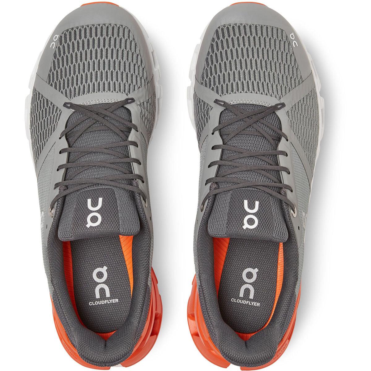 Men's On Cloudflyer 2.0 Running Shoe - Color: Grey/Orange - Size: 9 - Width: Regular, Grey/Orange, large, image 4