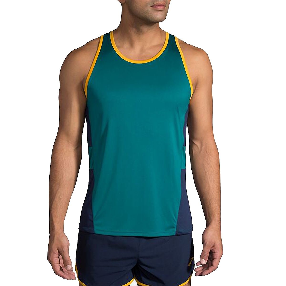 Men's Brooks Stealth Singlet  - Color: Spruce/Navy/Yellow - Size: S, Spruce/Navy/Yellow, large, image 1