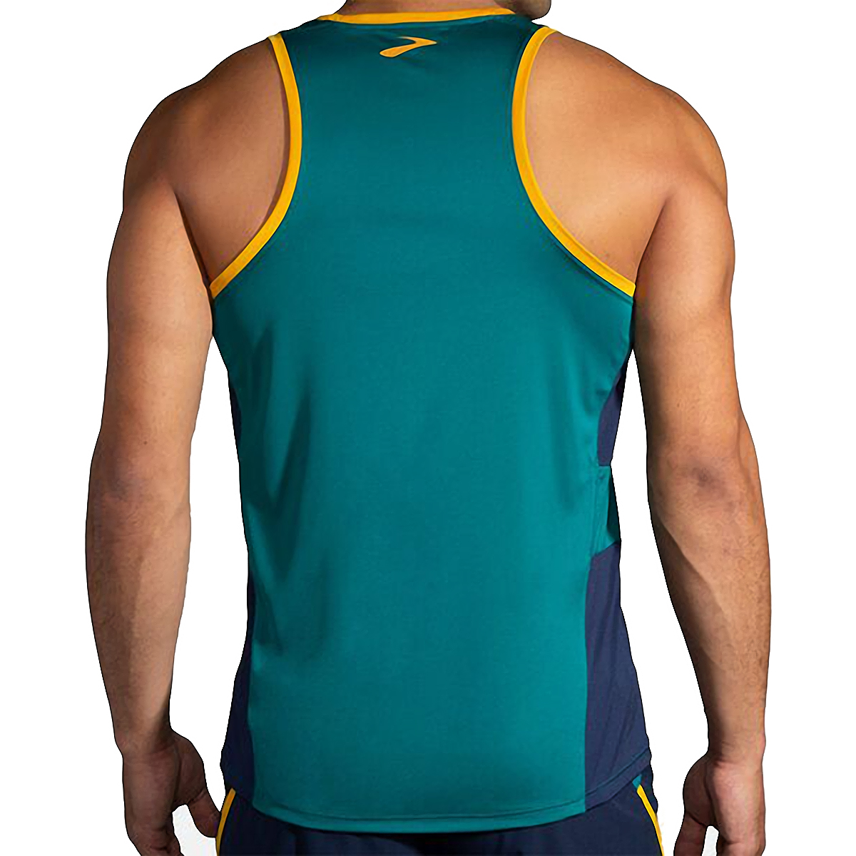 Men's Brooks Stealth Singlet  - Color: Spruce/Navy/Yellow - Size: S, Spruce/Navy/Yellow, large, image 2