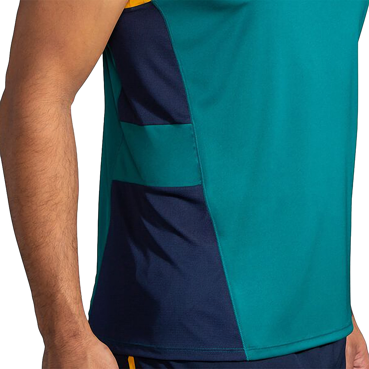 Men's Brooks Stealth Singlet  - Color: Spruce/Navy/Yellow - Size: S, Spruce/Navy/Yellow, large, image 3