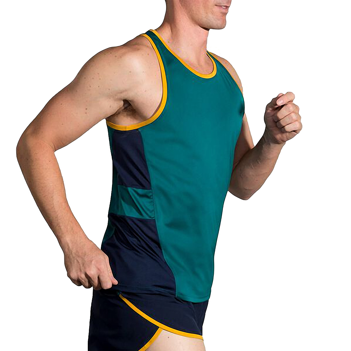 Men's Brooks Stealth Singlet  - Color: Spruce/Navy/Yellow - Size: S, Spruce/Navy/Yellow, large, image 4
