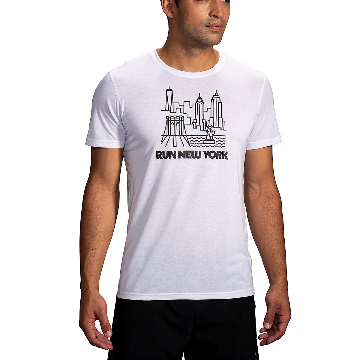 Men's Brooks Distance Graphic Tee  - Color: White/Run Nyc - Size: S, White/Run Nyc, large, image 1