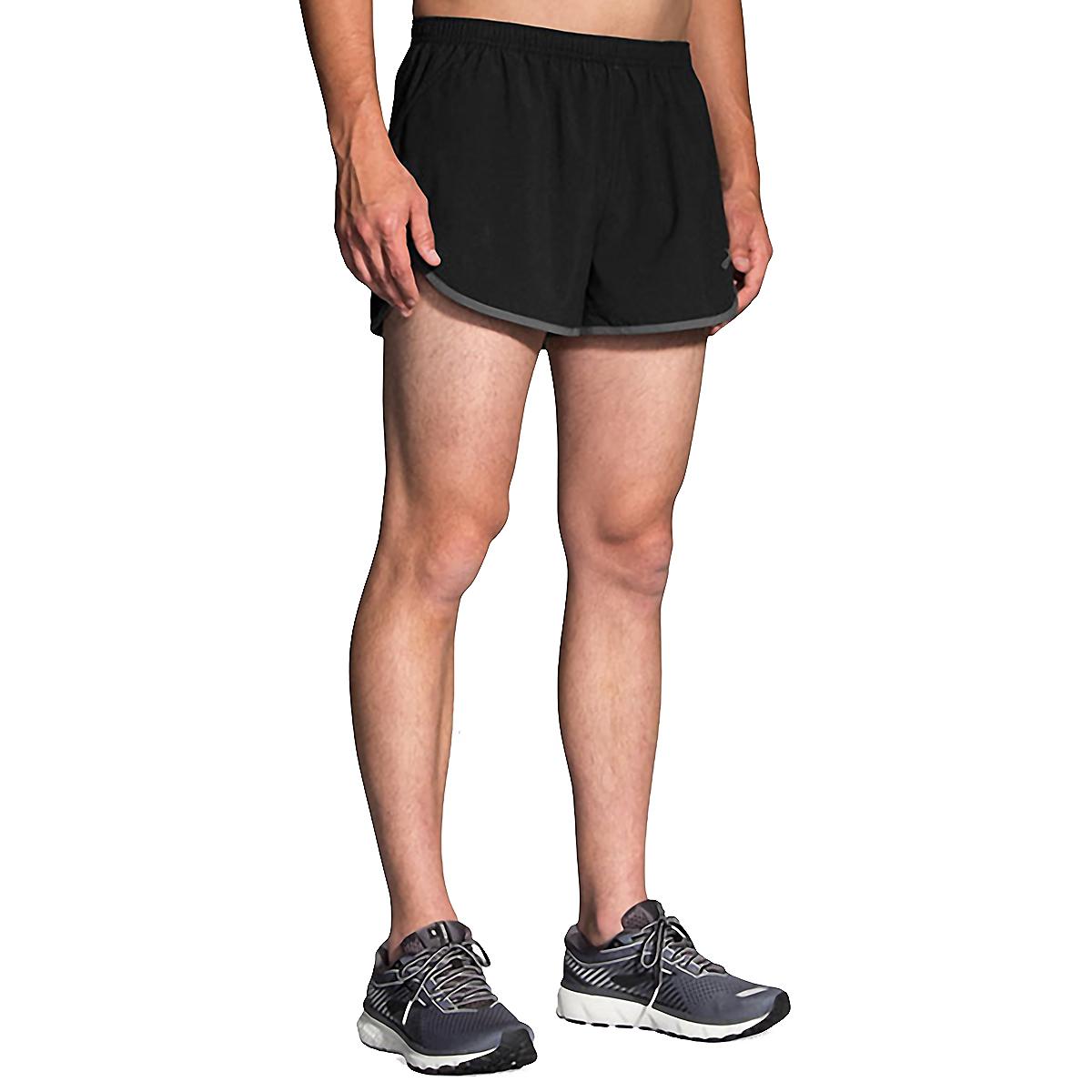 Men's Brooks Hightail 3'' Split Short - Color: Black/Ashpalt - Size: S, Black/Asphalt, large, image 1