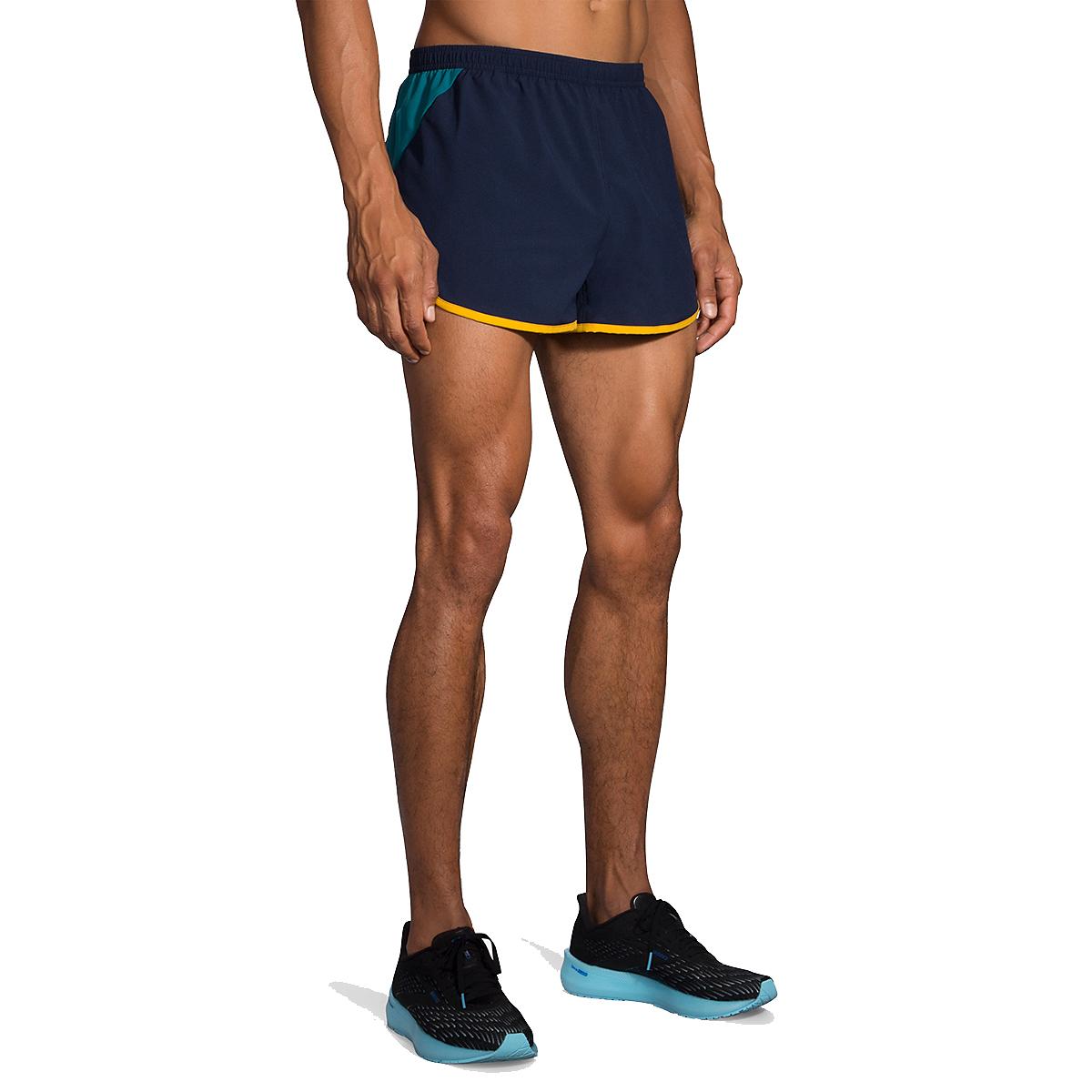 """Men's Brooks Hightail 3"""" Split Shorts - Color: Navy/Spruce - Size: S, Navy/Spruce, large, image 1"""