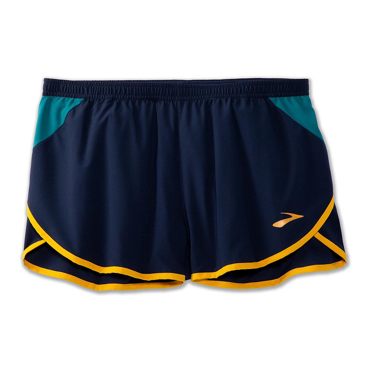 """Men's Brooks Hightail 3"""" Split Shorts - Color: Navy/Spruce - Size: S, Navy/Spruce, large, image 4"""
