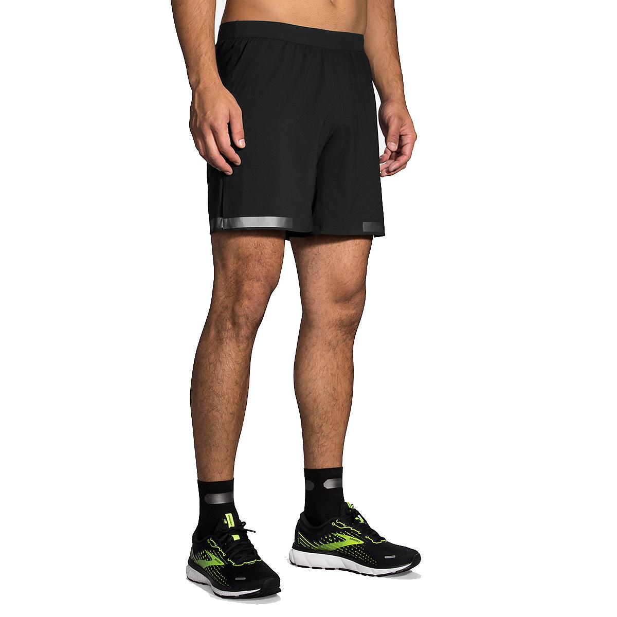 "Men's Brooks Run Visible Carbonite 7"" 2-In-1 Short  - Color: Black - Size: S, Black, large, image 1"