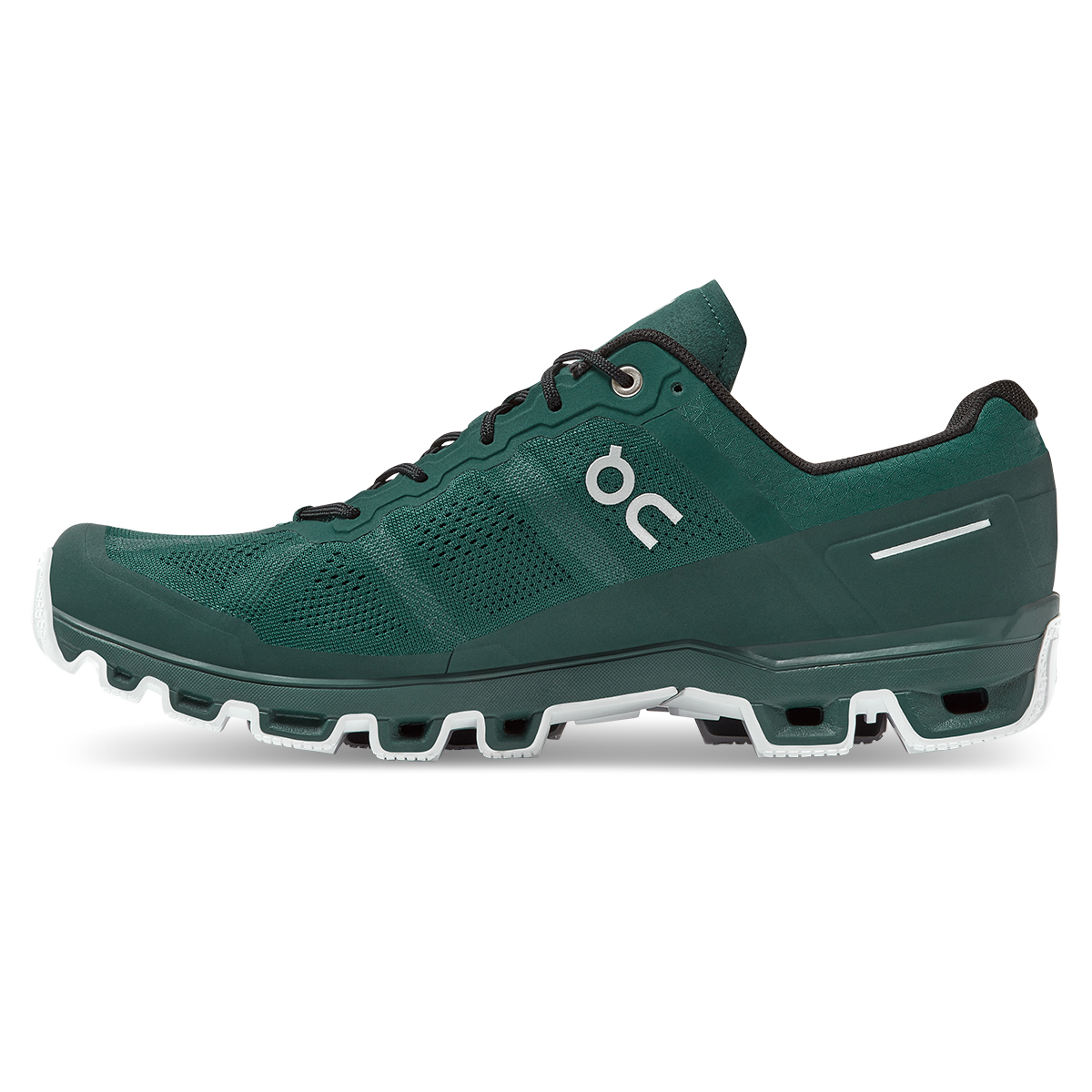 Men's On Cloudventure Running Shoe - Color: Evergreen/White - Size: 7 - Width: Regular, Evergreen/White, large, image 2