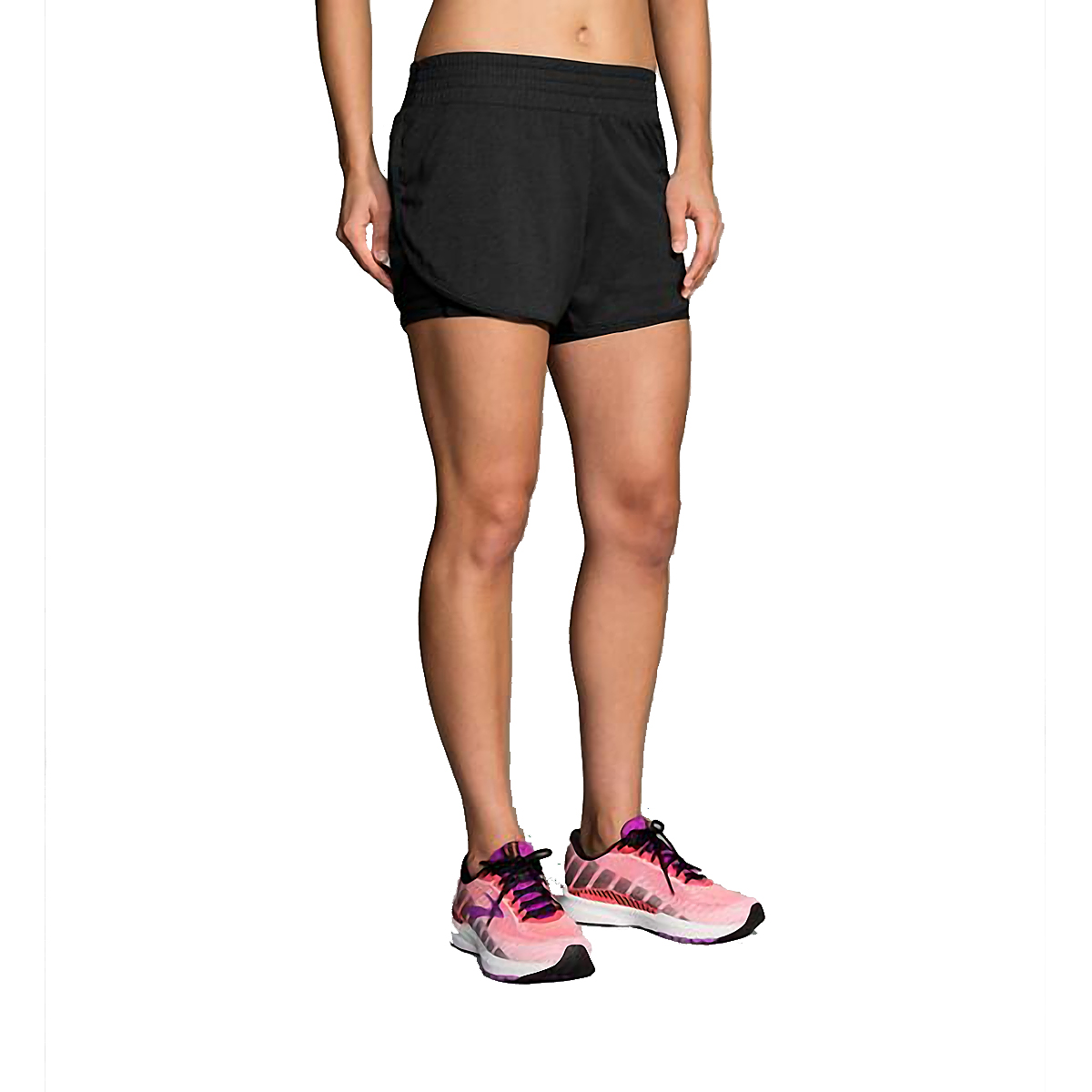 "Women's Brooks Rep 3"" 2-In-1 Short - Color: Black - Size: XS, Black, large, image 1"