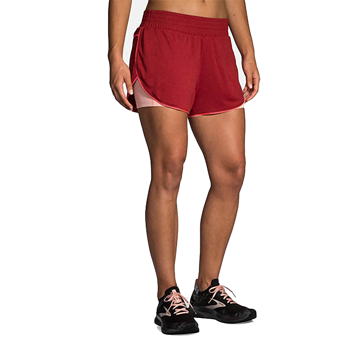 """Women's Brooks Rep 3"""" 2-In-1 Short  - Color: Heather Beet/Hot Pink - Size: XS, Heather Beet/Hot Pink, large, image 1"""