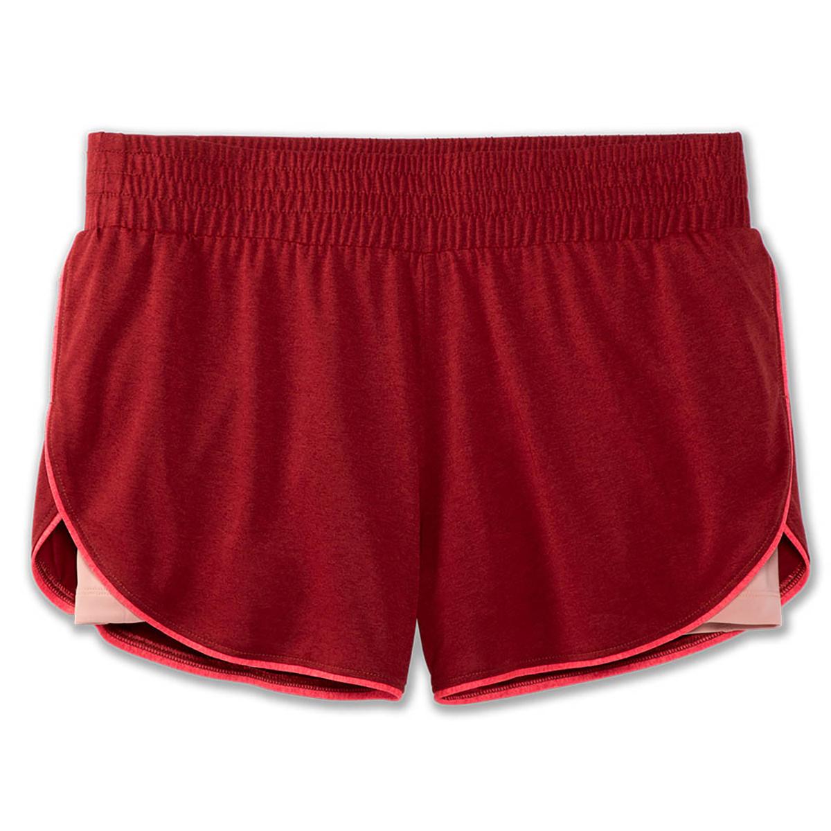 """Women's Brooks Rep 3"""" 2-In-1 Short  - Color: Heather Beet/Hot Pink - Size: XS, Heather Beet/Hot Pink, large, image 2"""