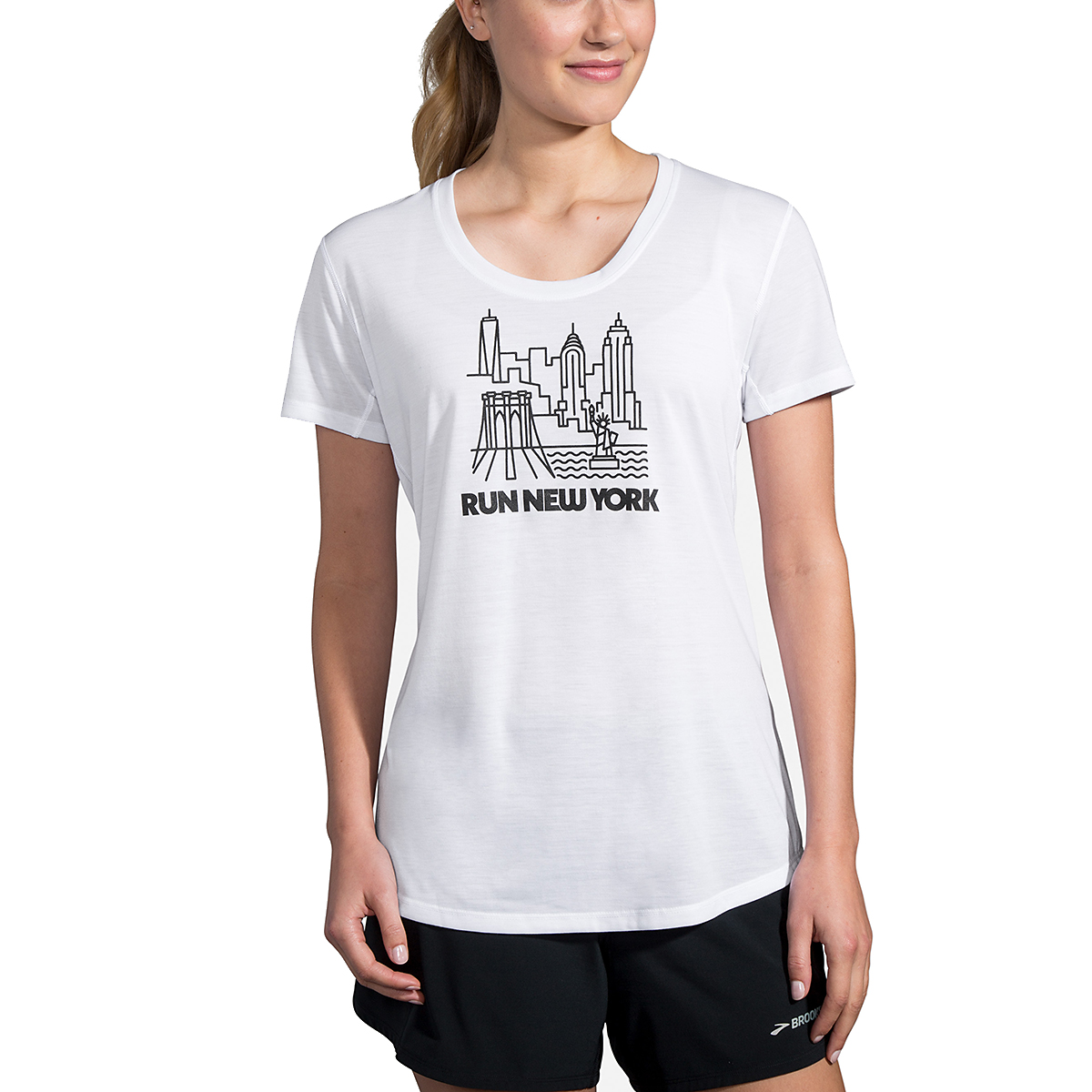 Women's Brooks Distance Graphic Tee - Color: White/Run Nyc - Size: XS, White/Run Nyc, large, image 1