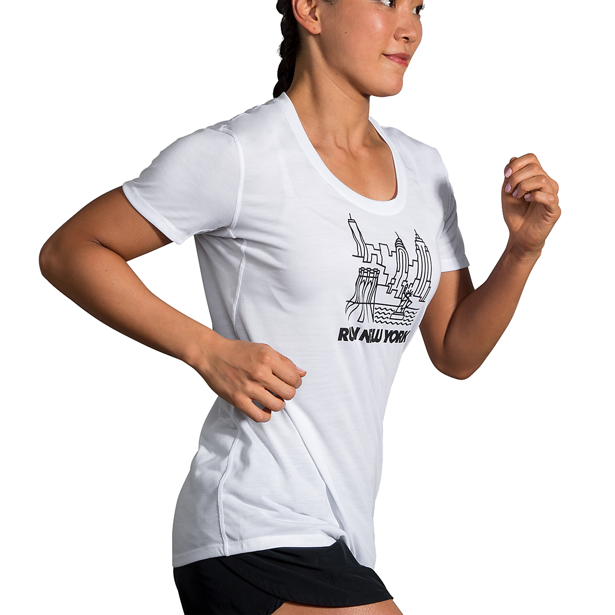 Women's Brooks Distance Graphic Tee - Color: White/Run Nyc - Size: XS, White/Run Nyc, large, image 2