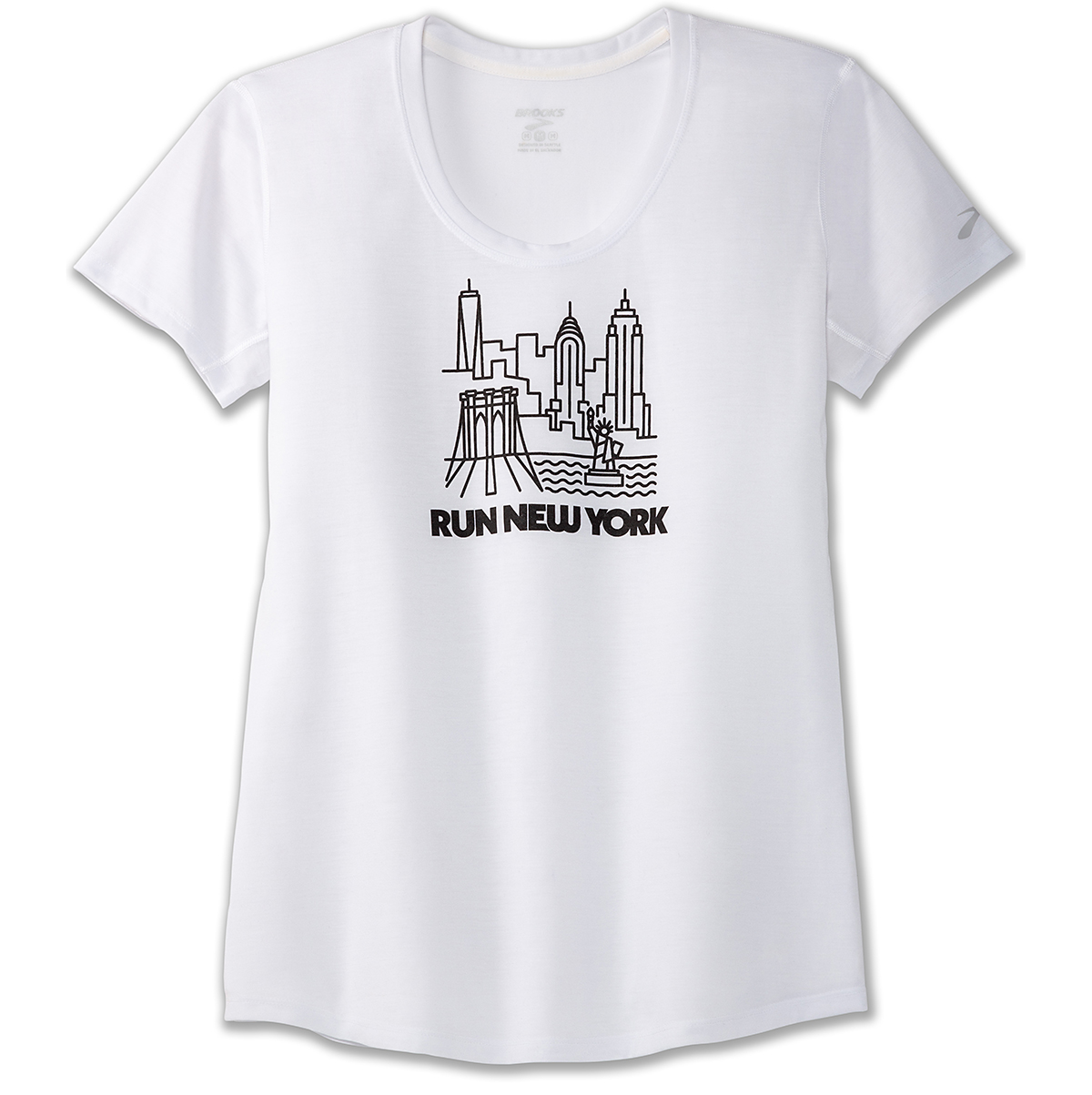 Women's Brooks Distance Graphic Tee - Color: White/Run Nyc - Size: XS, White/Run Nyc, large, image 3