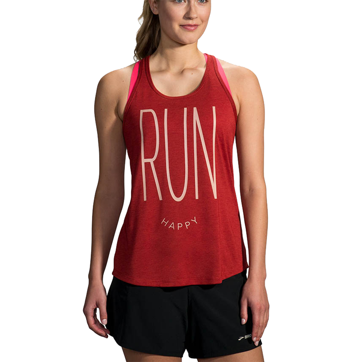 Women's Brooks Distance Graphic Tank  - Color: Heather Rosewood/Run Happy - Size: L, Heather Rosewood/Run Happy, large, image 1