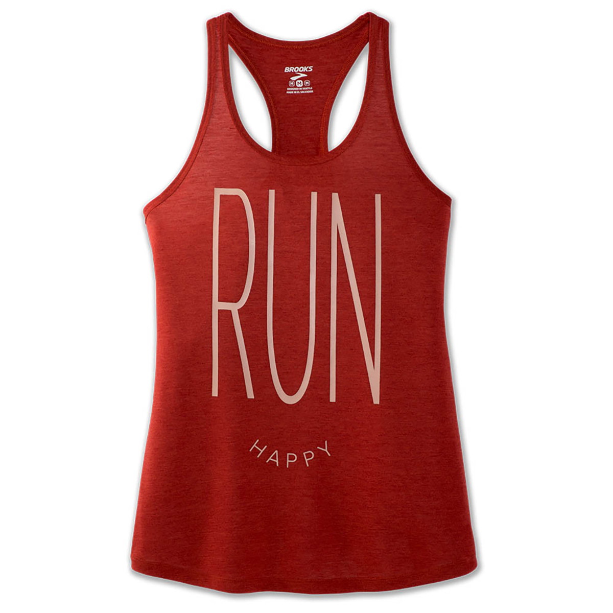 Women's Brooks Distance Graphic Tank  - Color: Heather Rosewood/Run Happy - Size: L, Heather Rosewood/Run Happy, large, image 2