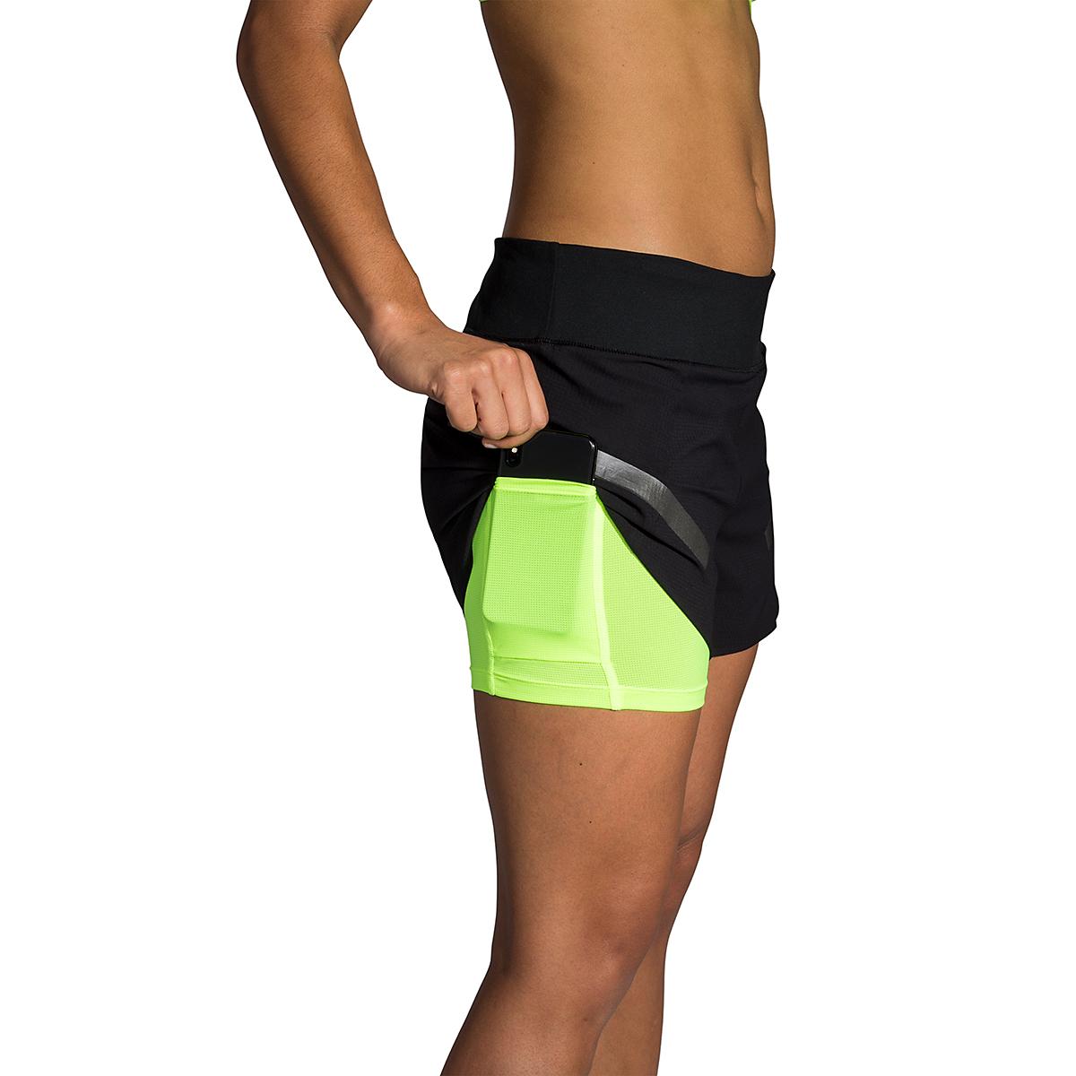 "Women's Brooks Run Visible Carbonite 4"" 2-In-1 Short  - Color: Black - Size: L, Black, large, image 3"