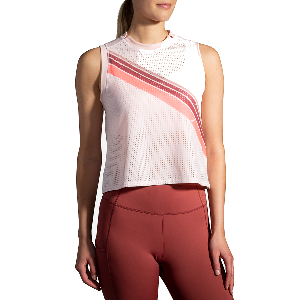 Women's Brooks Further Tank - Color: Rosewater/Stripe - Size: S, Rosewater/Stripe, large, image 1