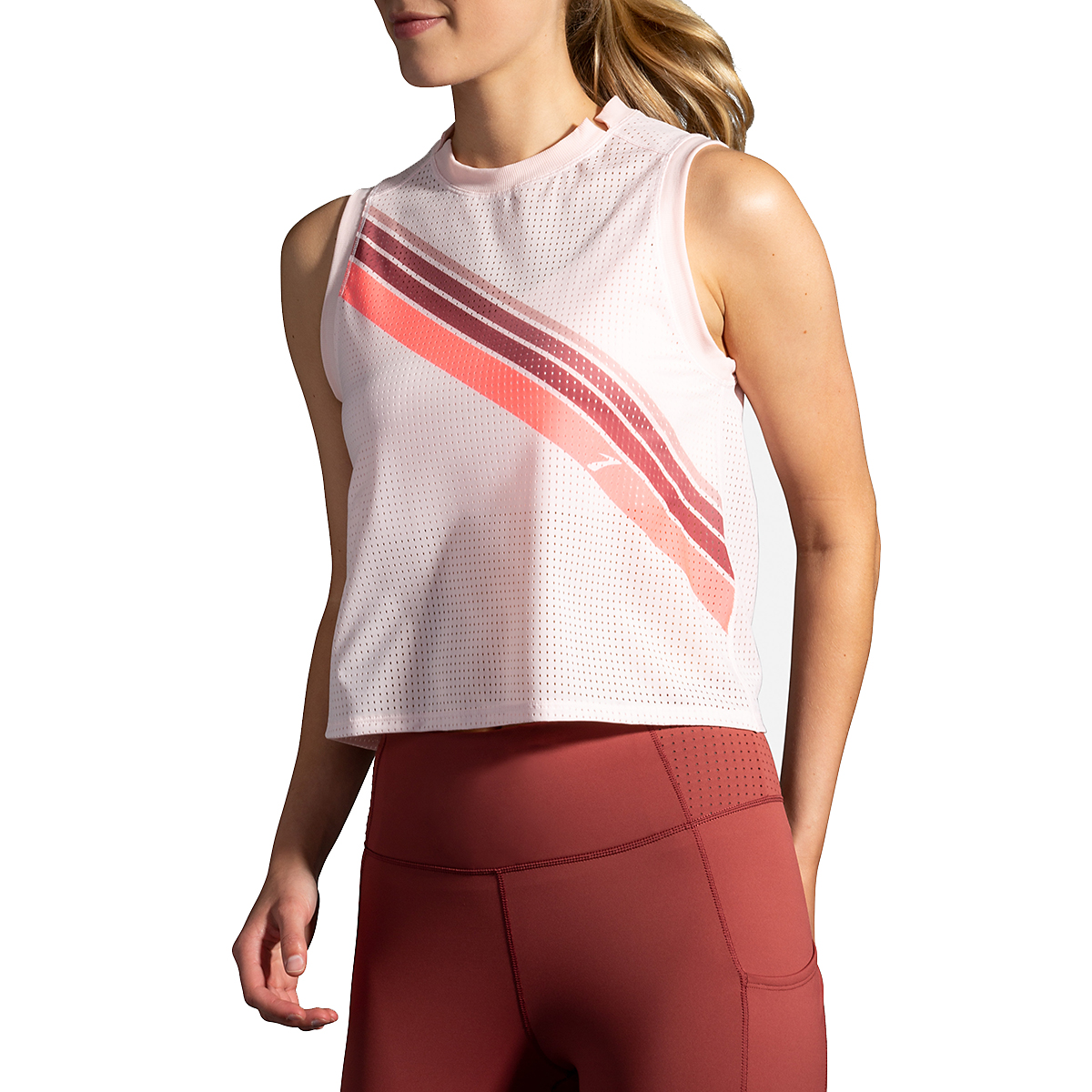 Women's Brooks Further Tank - Color: Rosewater/Stripe - Size: S, Rosewater/Stripe, large, image 3