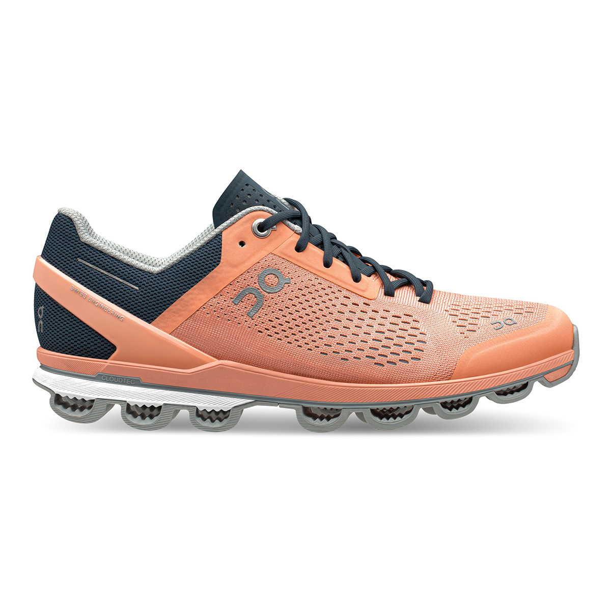 Women's On Cloudsurfer Running Shoe - Color: Coral/Navy - Size: 5 - Width: Regular, Coral/Navy, large, image 1