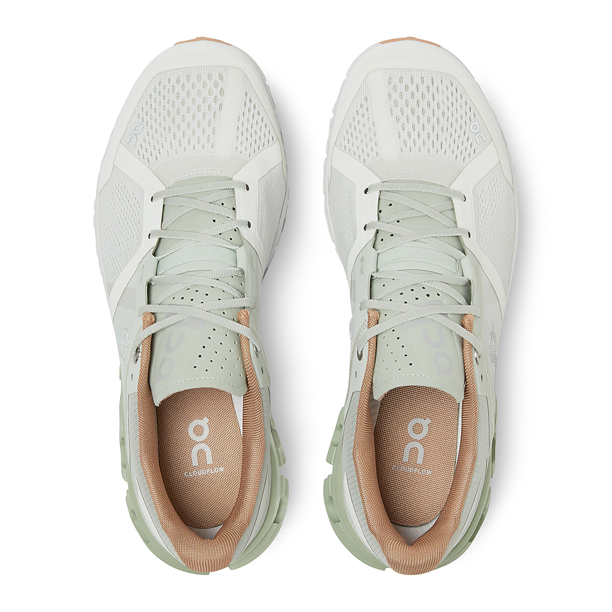 Women's On Cloudflow 2.0 Running Shoe - Color: Aloe/White - Size: 5 - Width: Regular, Aloe/White, large, image 3