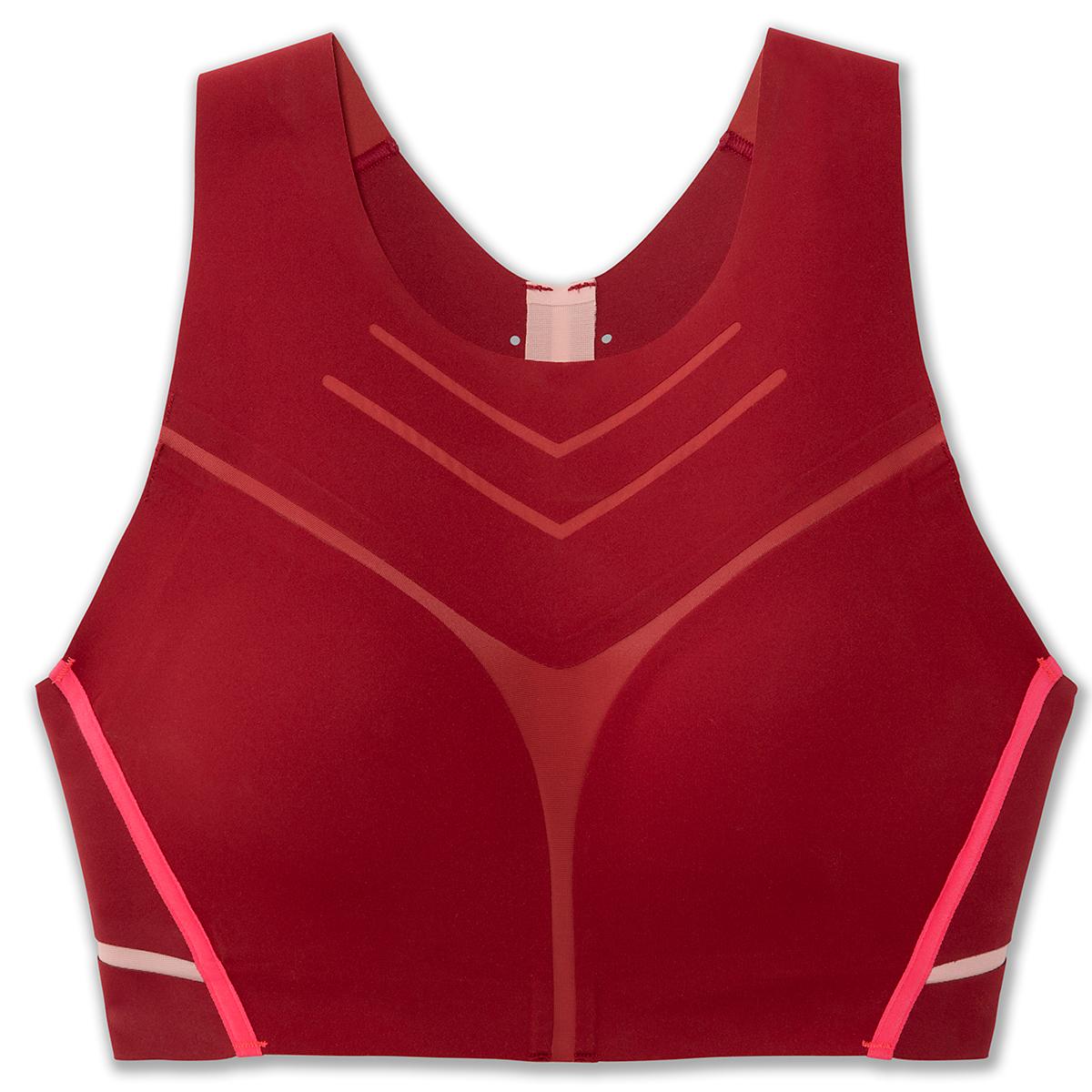 Women's Brooks Dare High-Neck Sports Bra - Color: Beet/Flamingo - Size: S, Beet/Flamingo, large, image 3