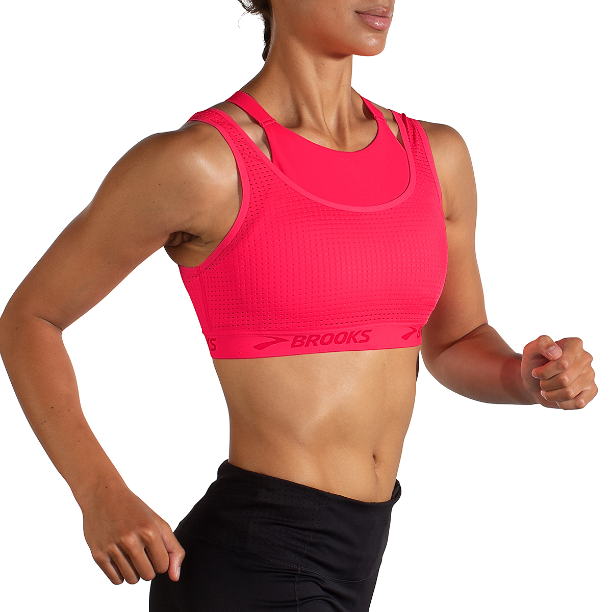 Women's Brooks Drive Mesh Run Bra - Color: Fluoro Pink - Size: XS, Fluoro Pink, large, image 3
