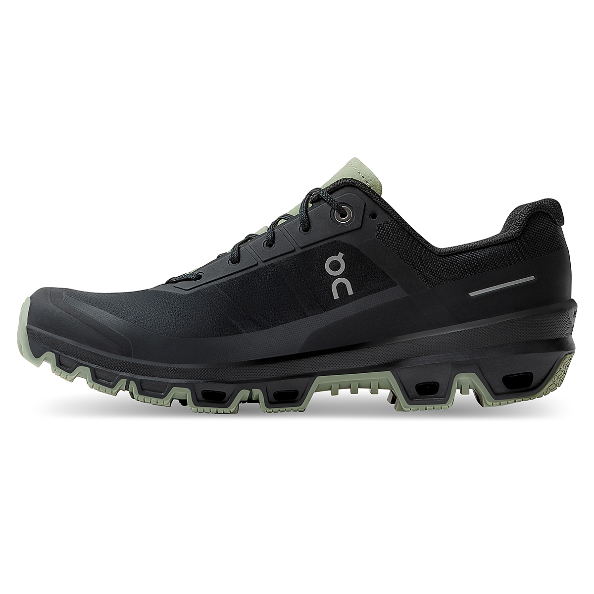 Men's On Cloudventure Running Shoe - Color: Black/Reseda - Size: 7 - Width: Regular, Black/Reseda, large, image 2