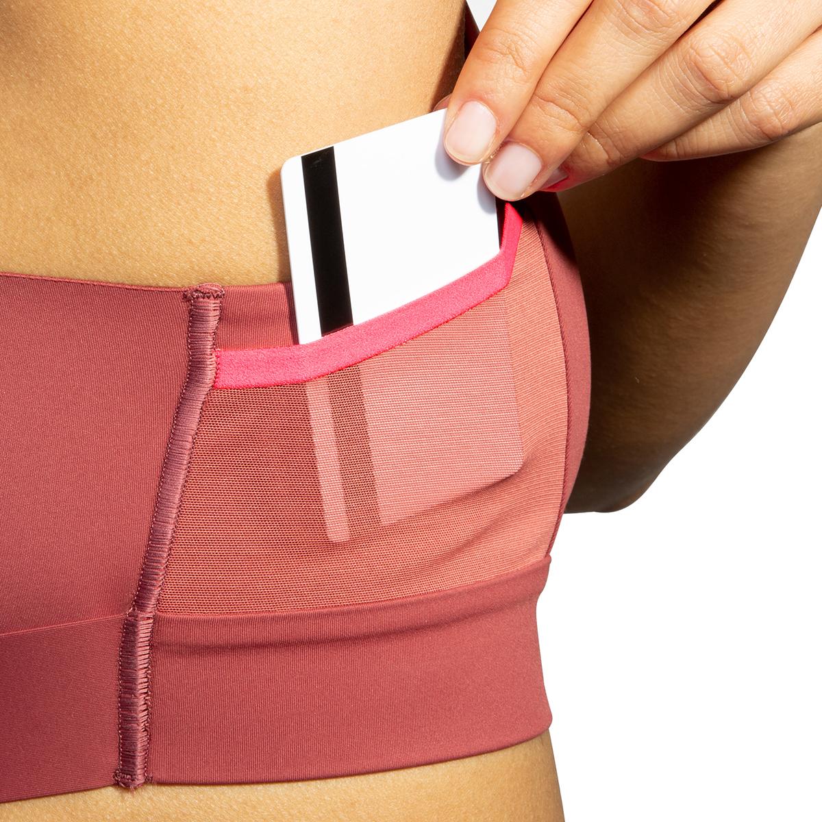 Women's Brooks Drive 3 Pocket Run Bra - Color: Terracotta/Fluoro Pink - Size: 30AB, Terracotta/Fluoro Pink, large, image 3
