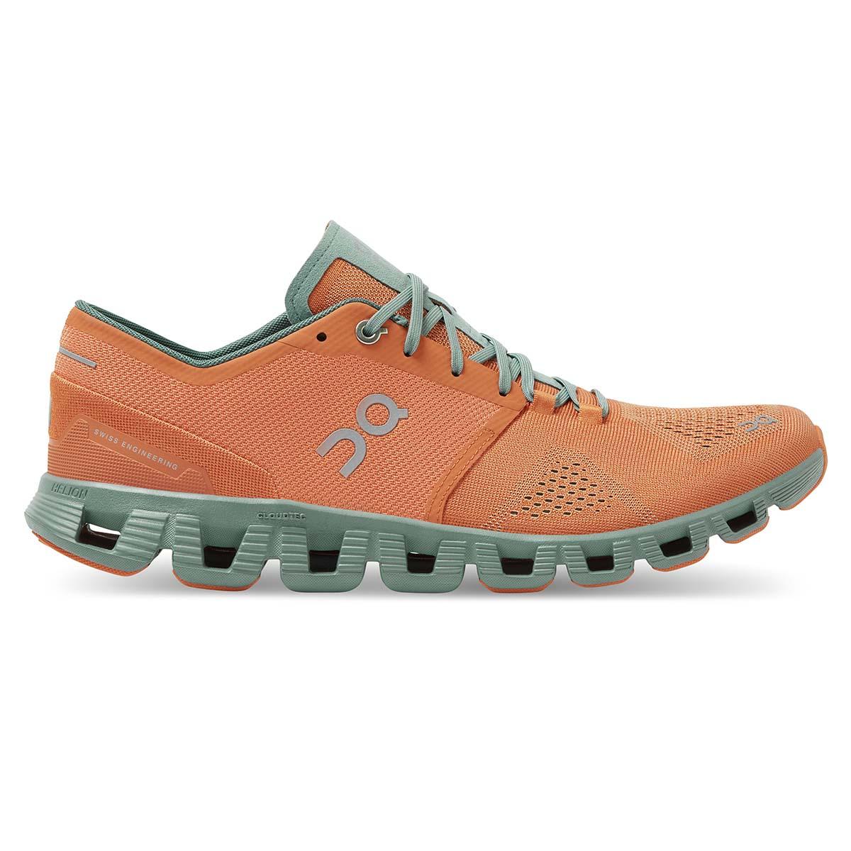Men's On Cloud X 2.0 Running Shoe - Color: Orange/Sea - Size: 7 - Width: Regular, Orange/Sea, large, image 1