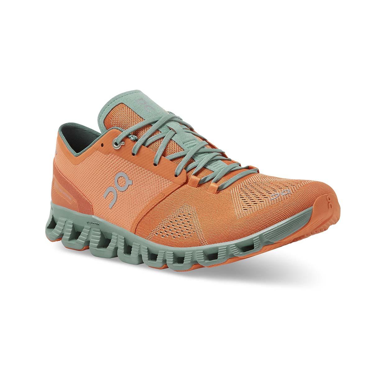 Men's On Cloud X 2.0 Running Shoe - Color: Orange/Sea - Size: 7 - Width: Regular, Orange/Sea, large, image 2