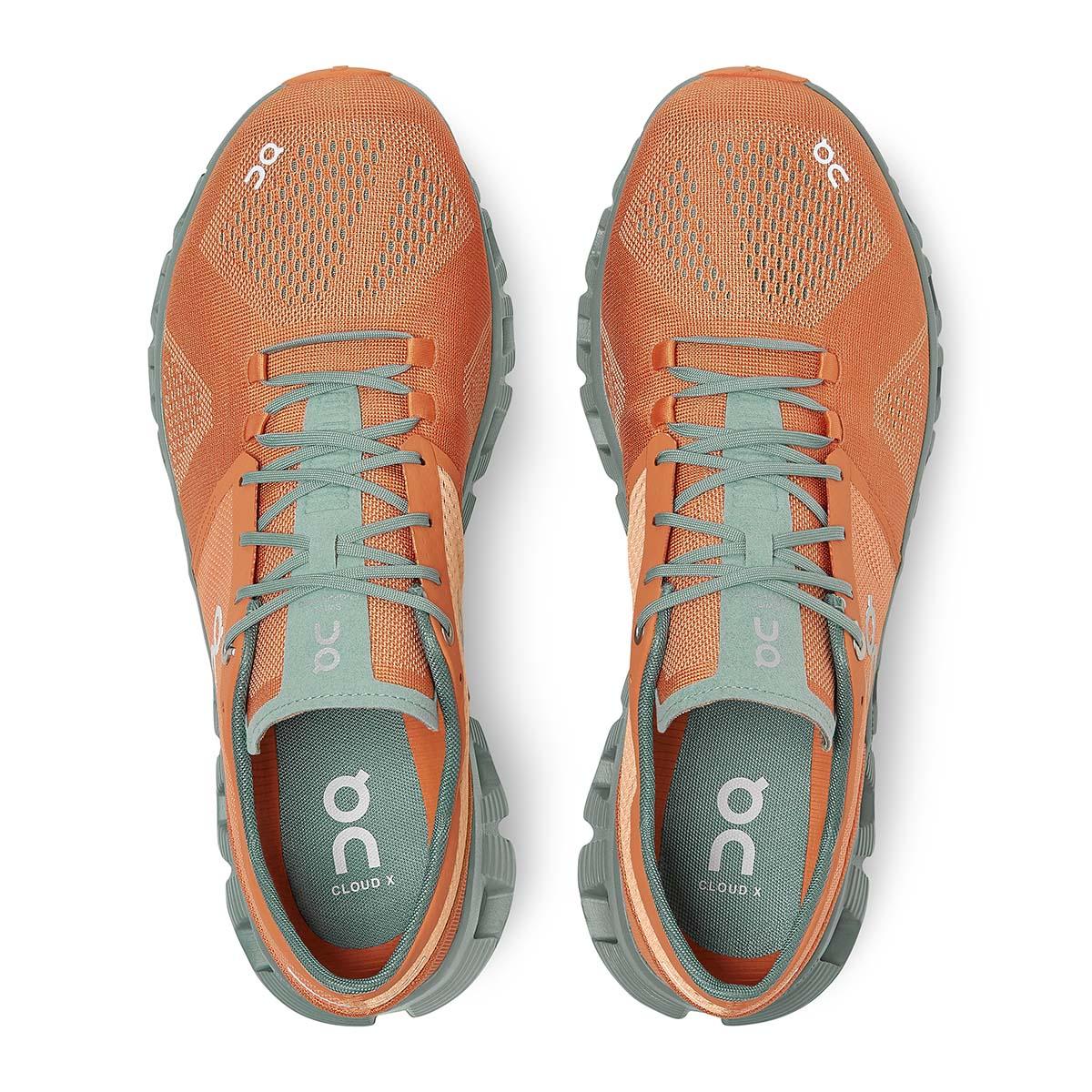 Men's On Cloud X 2.0 Running Shoe - Color: Orange/Sea - Size: 7 - Width: Regular, Orange/Sea, large, image 4