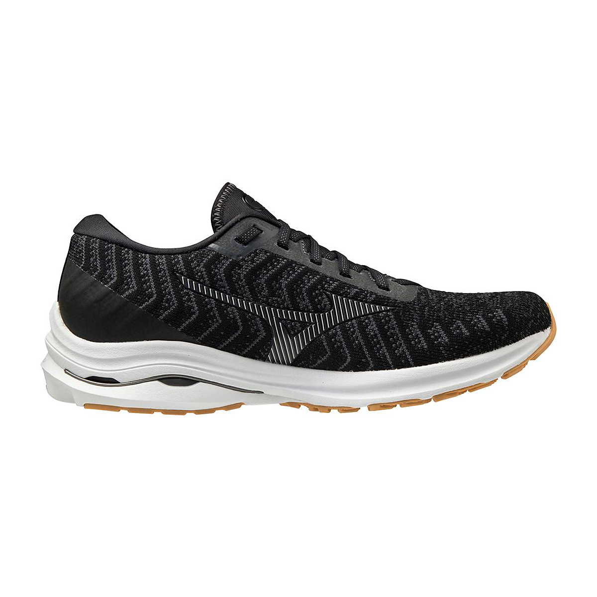 Men's Mizuno Wave Rider 24 Waveknit Running Shoe - Color: Black/Dark Shadow  - Size: 8 - Width: Regular, Black/Dark Shadow, large, image 1