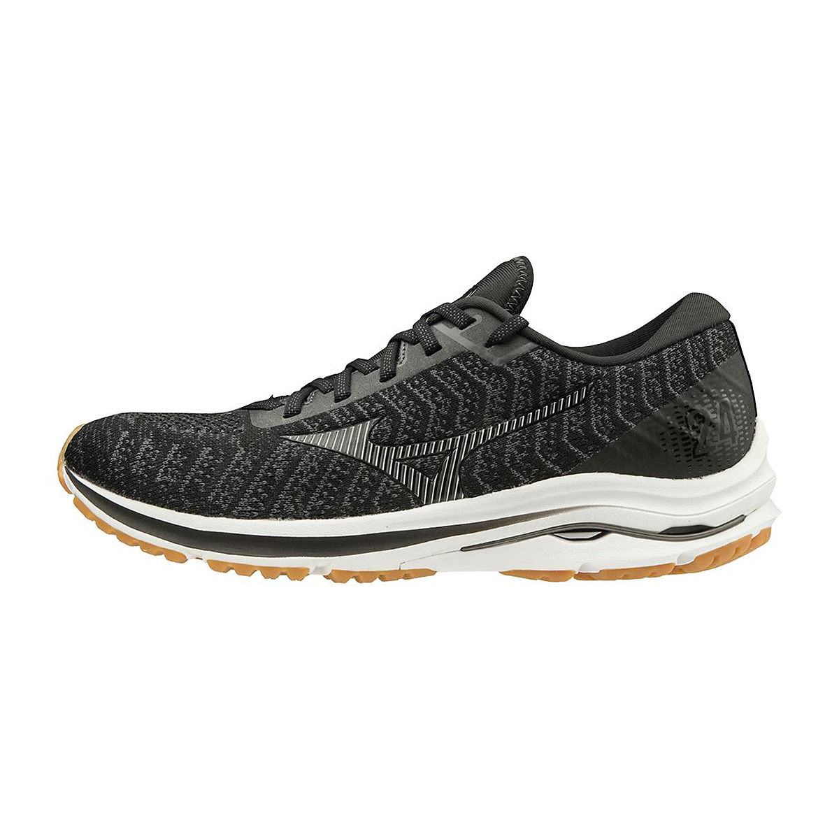 Men's Mizuno Wave Rider 24 Waveknit Running Shoe - Color: Black/Dark Shadow  - Size: 8 - Width: Regular, Black/Dark Shadow, large, image 2