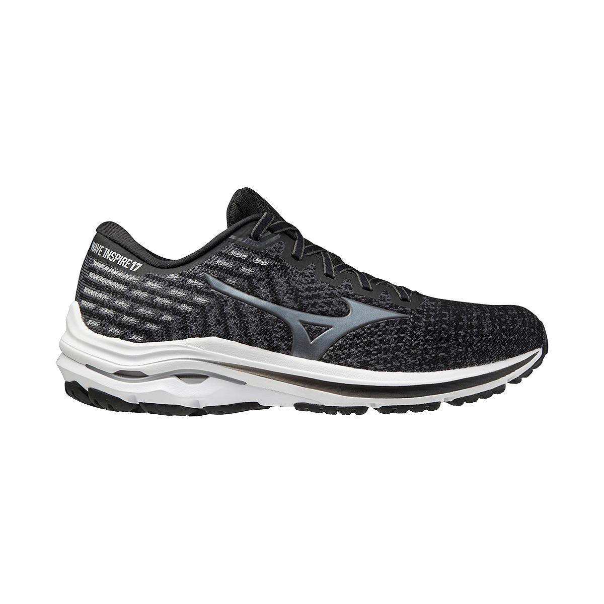 Men's Mizuno Wave Inspire 17 Waveknit Running Shoe - Color: Black/Shade - Size: 7 - Width: Regular, Black/Shade, large, image 1