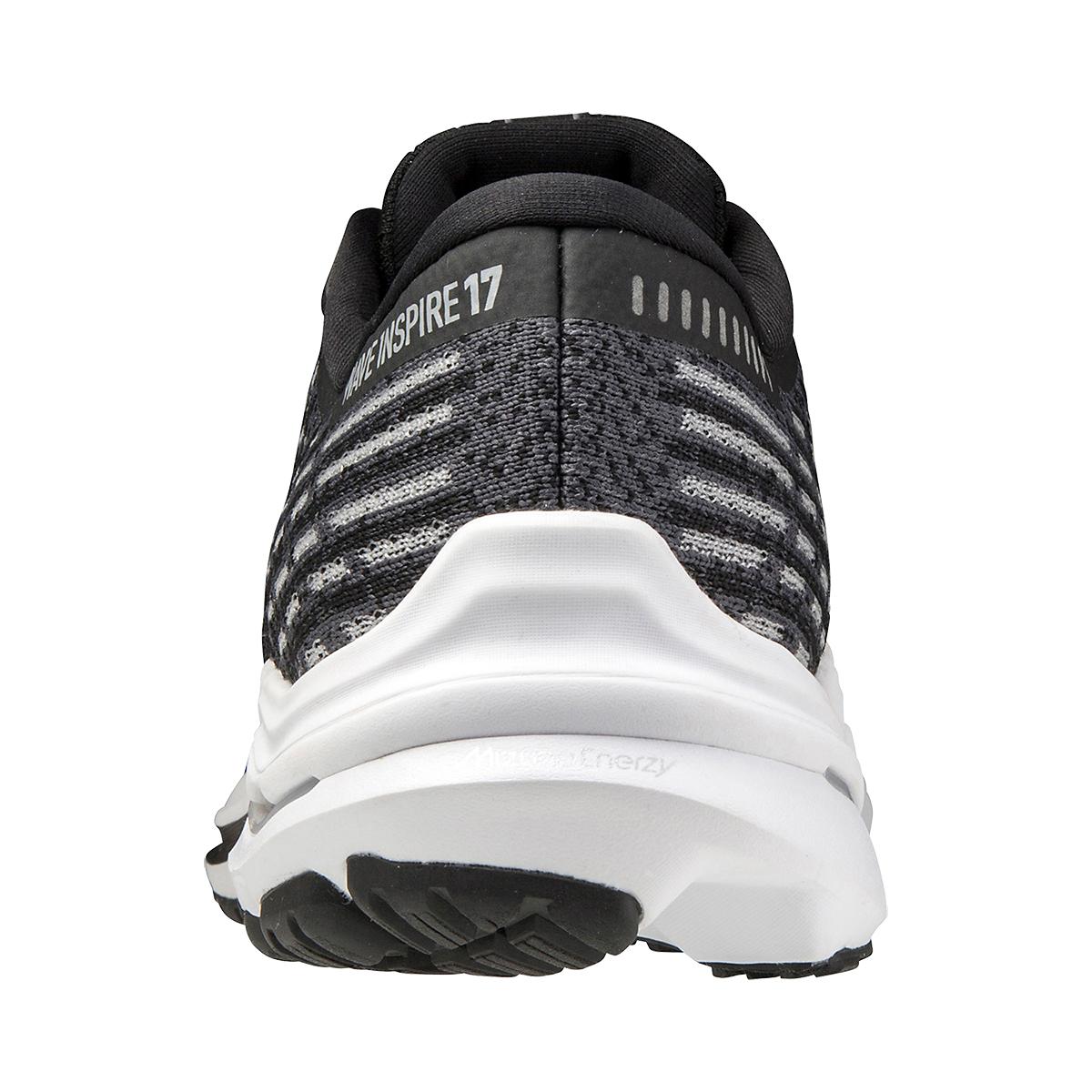 Men's Mizuno Wave Inspire 17 Waveknit Running Shoe - Color: Black/Shade - Size: 7 - Width: Regular, Black/Shade, large, image 3