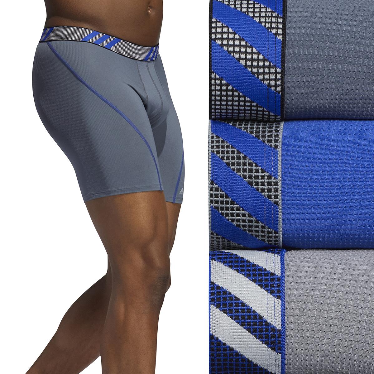 Men's Adidas Performance Mesh 3 Pack Boxer Briefs - Color: Onix Grey/Blue - Size: S, Onix Grey/Blue, large, image 3