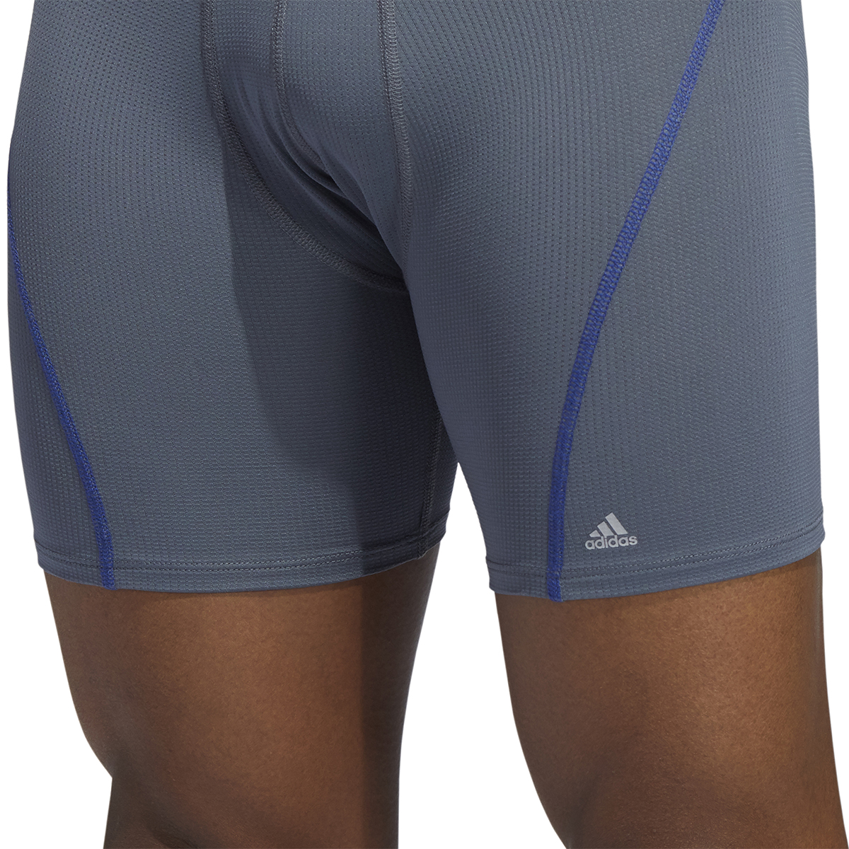 Men's Adidas Performance Mesh 3 Pack Boxer Briefs - Color: Onix Grey/Blue - Size: S, Onix Grey/Blue, large, image 6