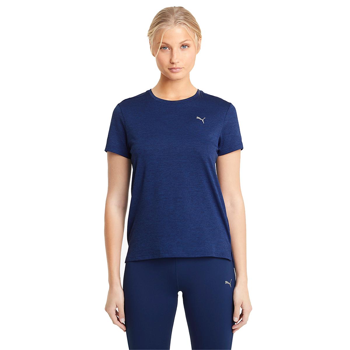 Women's Puma Favorite Heather Short Sleeve Running Tee - Color: Elektro Blue Heather - Size: XS, Elektro Blue Heather, large, image 1