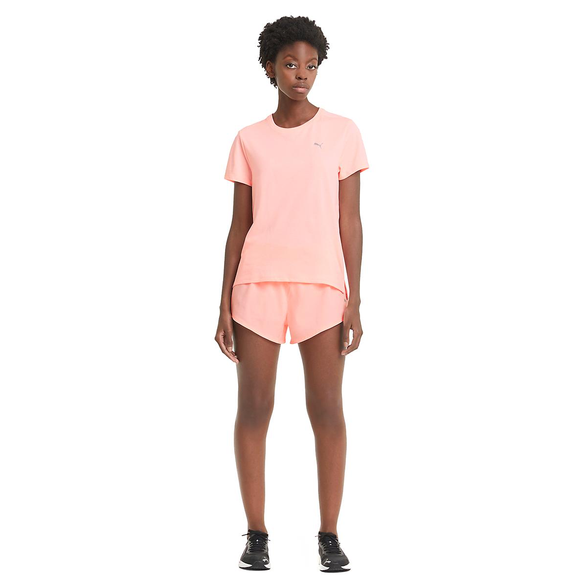 Women's Puma Favorite Heather Short Sleeve Running Tee - Color: Elektro Peach Heather - Size: XS, Elektro Peach Heather, large, image 3